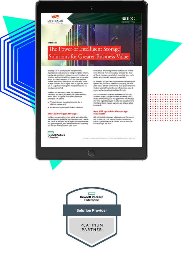 Intelligent Storage Brief Thumbnail on tablet with HPE partner logo