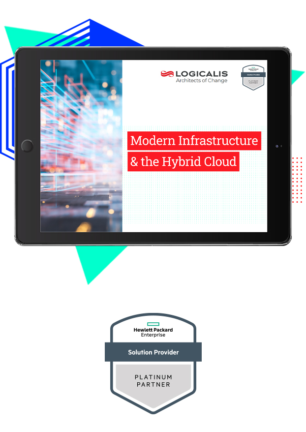 Infrastructure & the Hybrid Cloud eBook thumbnail on tablet with HPE partner logo